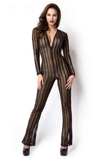 Schwarzer Damen Overall V-Ausschnitt mit Reißverschluss, langen Ärmeln und gestreift transparent