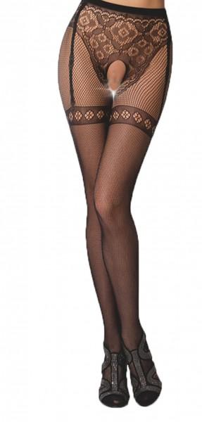 Frauen Dessous Strumpfhose erotisch ouvert transparent mit Straps Muster im Schritt offen elastisch