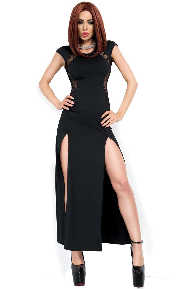 Schwarzes langes Abendkleid geschlitzt elastisch mit Spitze Damen Kleid  erotisch