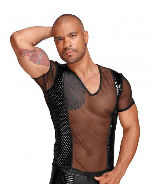 Erotisches Tüll Herren Hemd T-Shirt mit PVC Zierfalten transparent Gogo Clubwear schwarz