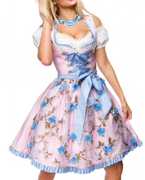 Dirndl Kleid Kostüm mit Herzausschnitt und Schnürung und Schürze aus glänzendem Stoff und Spitze Okt