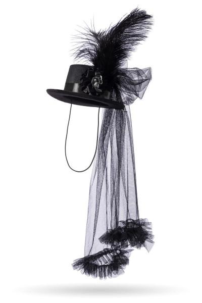 Schwarzer Damen Schleierhut Trachtenhut mit Totenkopf und Schleife Fasching Feder Verkleidung