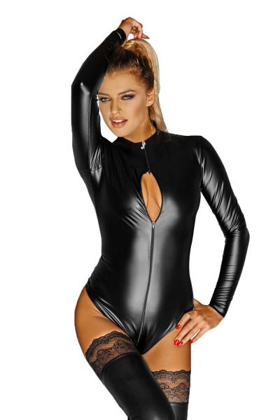 Schwarzer Damen Dessous Wetlook-Body Catsuit mit Reißverschluss Gogo Body