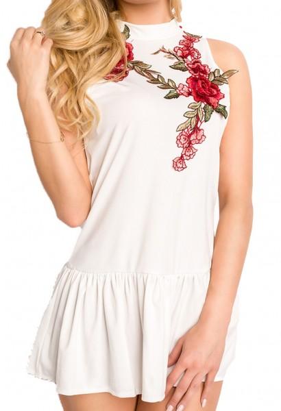 Weißes Charleston Kleid mit Blumenapplikation und Hochgeschlossen Rückenfrei tiefer Ausschnitt hinte