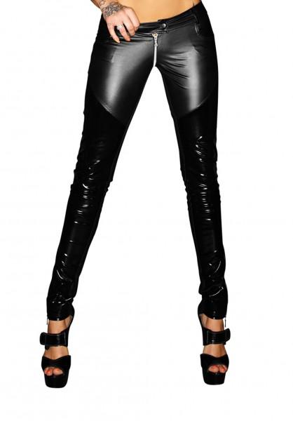 Schwarze Damen Wetlook-Hose Push Effekt mit Reißverschluss und Druckknopf Skinny wetlook Hose