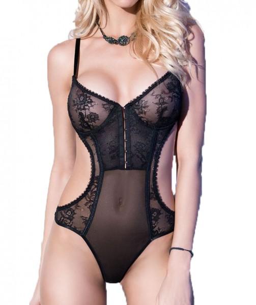 Damen Dessous Reizwäsche Body schwarz mit Spitze und Bügel Cups transparent erotisch