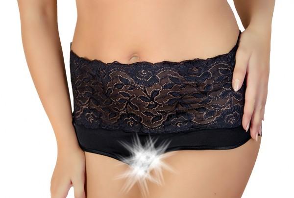 Erotischer Damen Slip in schwarz mir Spitze elastisch ouvert