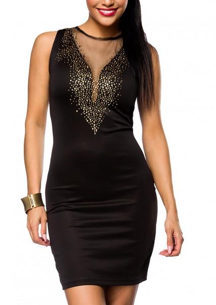 Schwarzes Partykleid mit tiefem V-Ausschnitt vorn und hinten und goldenen Steinchen seitlichem Reißv