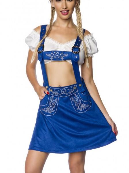 Blauer Damen Trachtenrock mit Hosenträgern und Stickereien Velourlsederoptik Bayrischer ausgestellt