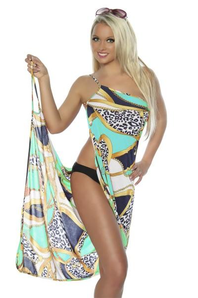 Strandtuch bunt gemustert zum binden elegantes Sommerkleid leichtes Tuch blau