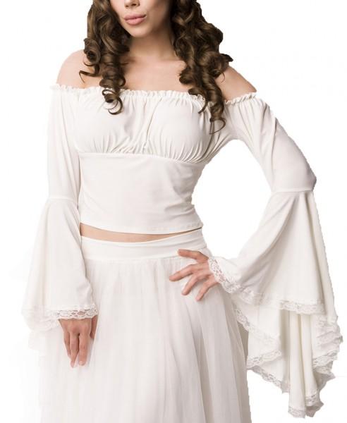 Weiße Lang Bluse aus Jersey mit Trompetenärmeln und Carmenausschnitt Spitzenbesatz Piratenoutfit mit