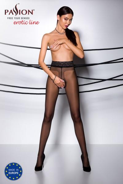 Frauen ouvert Strumpfhose schwarz elastisch im Schritt offen mit Spitzenrand