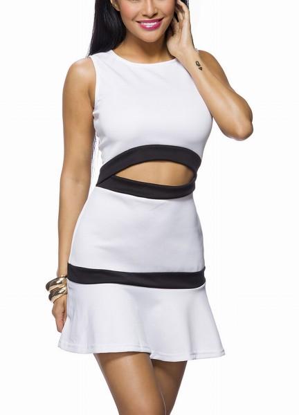 Weißes Bauchfreies Kleid mit schwarzem Saum und ausgestelltem Rockteil ohne Träger