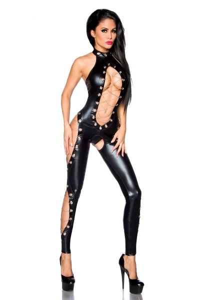 Schwarzer erotischer Damen Dessous Neckholder Gogo-Overall aus wetlook Material mit Cutouts und Kett
