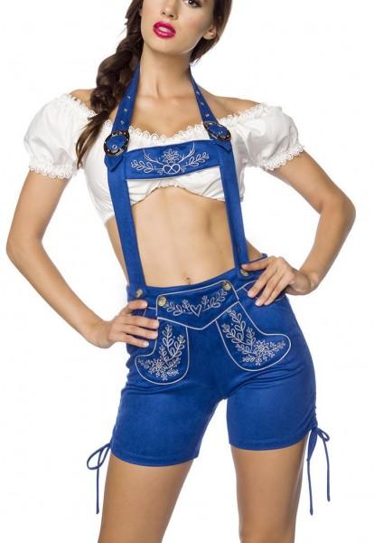 Blaue Damen Trachtenkniebundhose mit Hosenträgern und Stickereien Velourlsederoptik Bayrische Latzkn