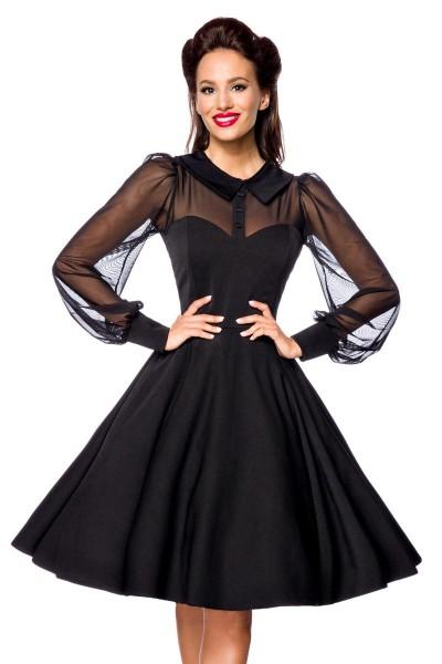 Schwarzes knielanges Swing Kleid im High Waist Schnitt mit Netz und Herz-Ausschnitt Vollglocke und l