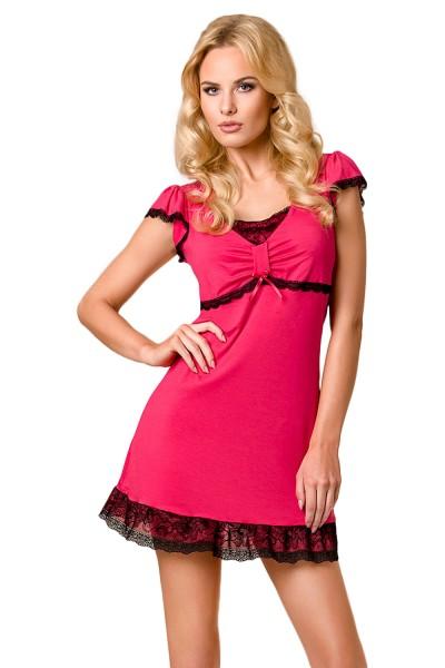 Damen Dessous Kleid Negligee Chemise in rosa mit schwarzer Spitze Minikleid elastisch Abendkleid