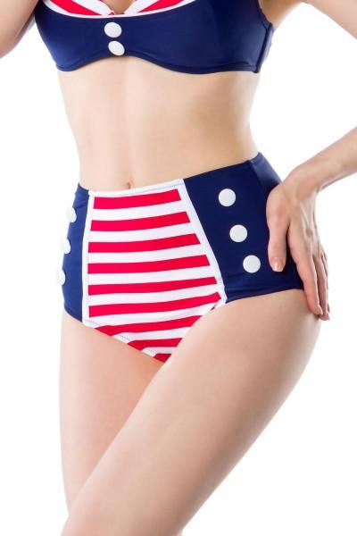Retro Vintage Damen Bikinihöschen gestreift rot blau weiß mit Knöpfe High-Waist Bademode Marine Look