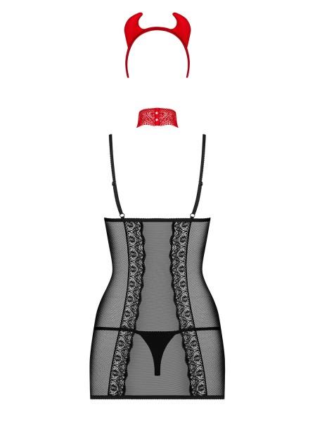 Damen Dessous Set Kostüm Verkleidung Teufel aus Negligee, String, Hörner und Halsband und Peitsche i