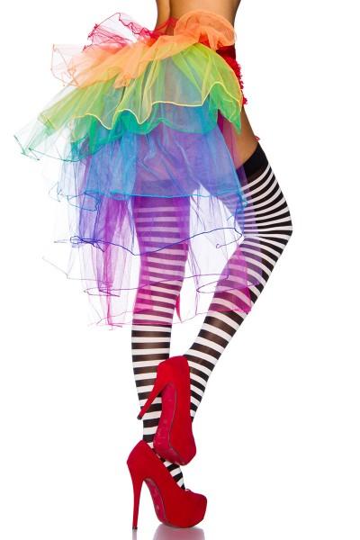 Volant Rock vorn lang hinten kurz in Regenbogenfarben aus Tüll mehrlagig Burlesque