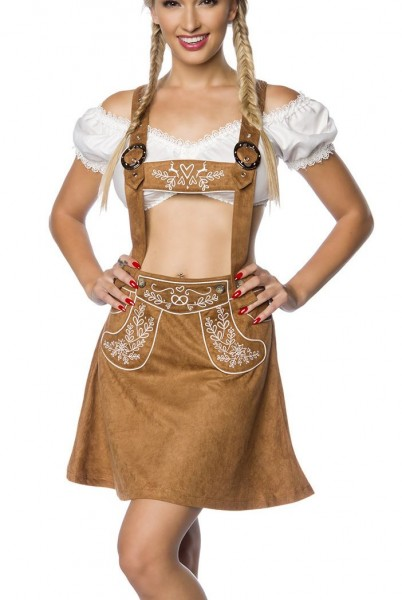 Brauner Damen Trachtenrock mit Hosenträgern und Stickereien Velourlsederoptik Bayrischer ausgestellt