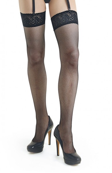 Schwarze Damen Dessous Netz-Strümpfe Strapsstrümpfe gemustert Stockings mit Spitz 20 den