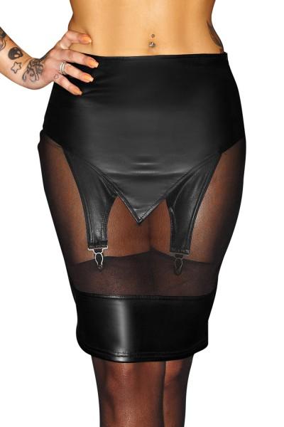 Schwarzer Damen Dessous Straps-Rock mit Strumpfhalter und Reißverschluss aus wetlook Material Rock k