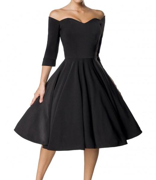 Schwarzes knielanges Swing Kleid im High Waist Schnitt mit Gürtel und Herz-Ausschnitt Vollglocke und