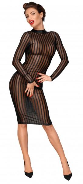 Klassisches erotisches Damen Dessous Kleid aus weichem und elastischen Tüll transparent knielang