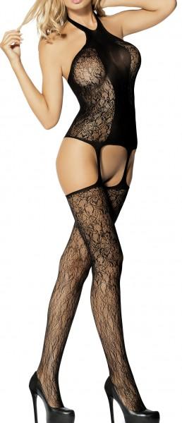 Schwarzer Damen Dessous Bodystocking Neckholder Nacht-Kleid aus Netz transparent S/L