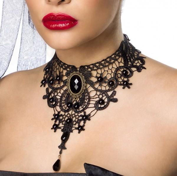 Damen Halsschmuck aus Spitze mit Schmucksteinen und Brosche im Gothic Look
