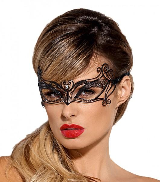 Reizende Maske in schwarz aus Metall zum binden mit Satinband OneSize