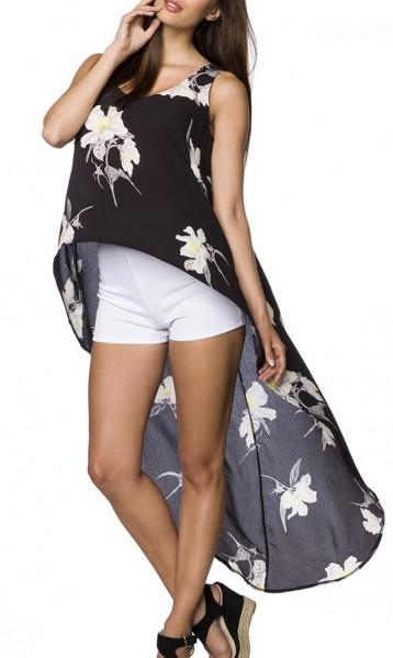 Kurzes schwarzes Sommertop mit Rundhalsausschnitt und Blütendruck Muster asymmetrisch geschnitten Wi