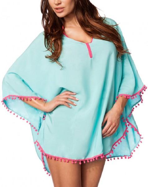 Blaue Tunika mit pinken Borten und V-Ausschnitt Bommeln am Saum sowie überschnittene Schulter transp