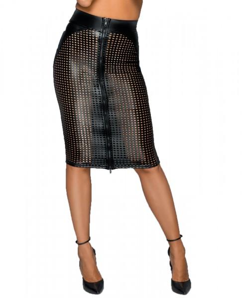 Damen wetlook Lasercut Rock knielang schwarz Skirt mit Löcher und Reißverschluss