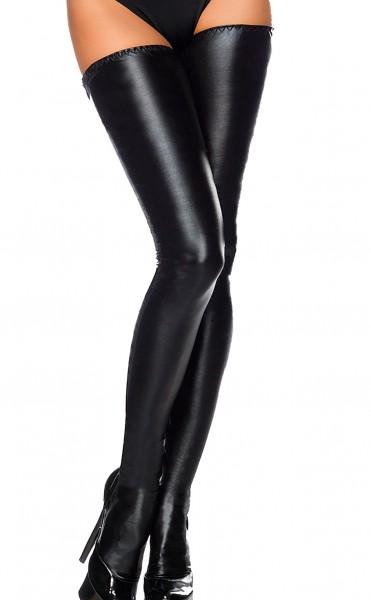 Schwarze halterlose Wetlook Strümpfe mit Schnürung hinten glänzende Stockings
