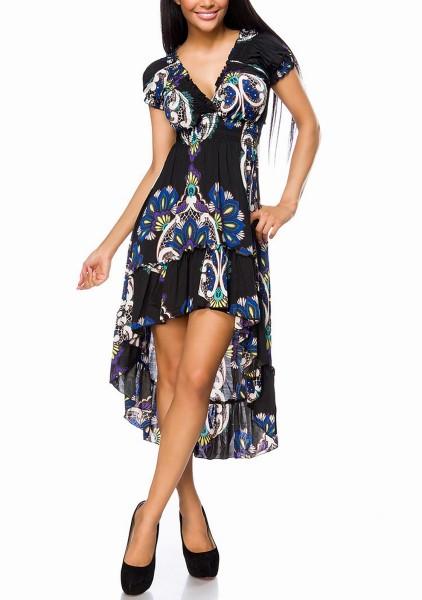 Damen Sommerkleid mit V-Ausschnitt vorn kurz hinten lang mit Volant Saum Paisleymuster