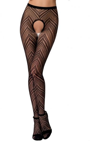 Frauen Dessous Strumpfhose erotisch ouvert transparent mit Muster im Schritt offen elastisch
