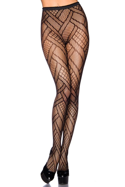Transparente schwarze Damen Strumpfhose mit Lochmuster und elastischem Bund