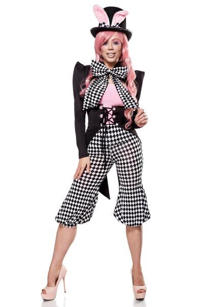 Damen Katzen Kostüm Verkleidung mit Top Hose und Fliege mit Frack, Hut und Hasenohren schwaz weiß ka