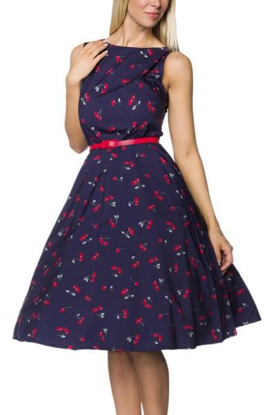 Blau gemustertes Rockabilly retro Kleid mit Gürtel Damen vintage Sommerkleid knielang mit Kirschen b