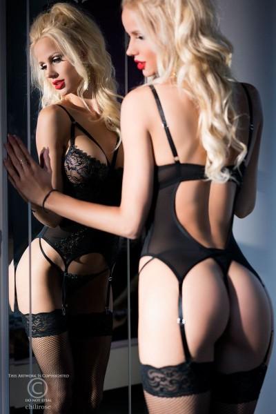 Damen Dessous Reizwäsche Set Strapshemd Corsage schwarz aus Spitze transparent mit String