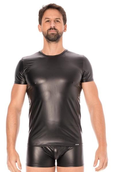 Schwarzes Herren Wetlook T-Shirt dehnbar blickdicht Männer fetisch Shirt kurzarm
