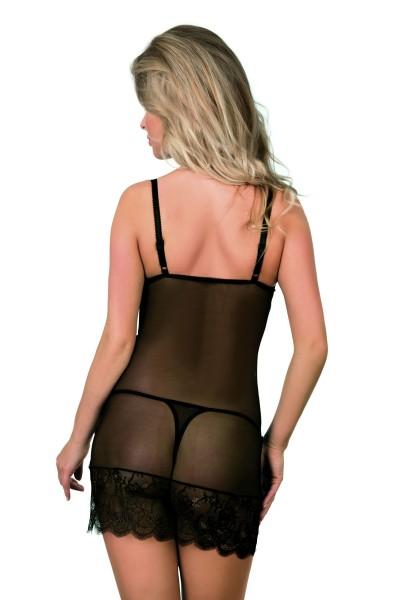 Schwarzes erotisches Damen Dessous Negligee transparent gemustert aus Tüll und Spitze dehnbar Chemis