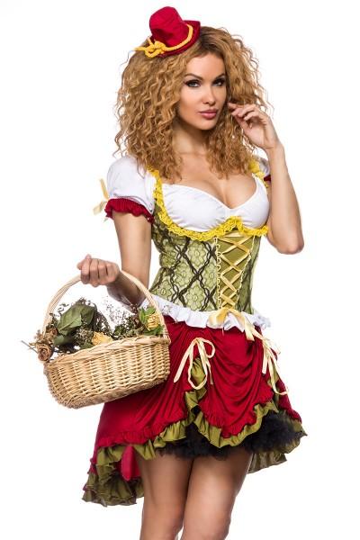 Damen Magd Kleid Kostüm Verkleidung mit Hut, Puffärmel, Schnürung aus Spitze und Baumwolle
