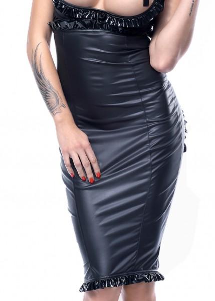 Damen fetisch Set aus Hebe BH, Maxi-Rock und String in wetlook schwarz mit Reißverschluss Kleid Set