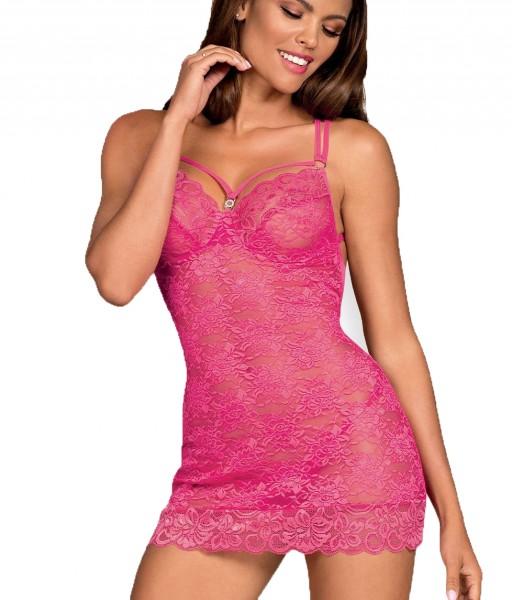 Frauen Dessous Negligee Chemise Minikleid in Pink mit Riemchen aus Stretch und floraler Spitze trans