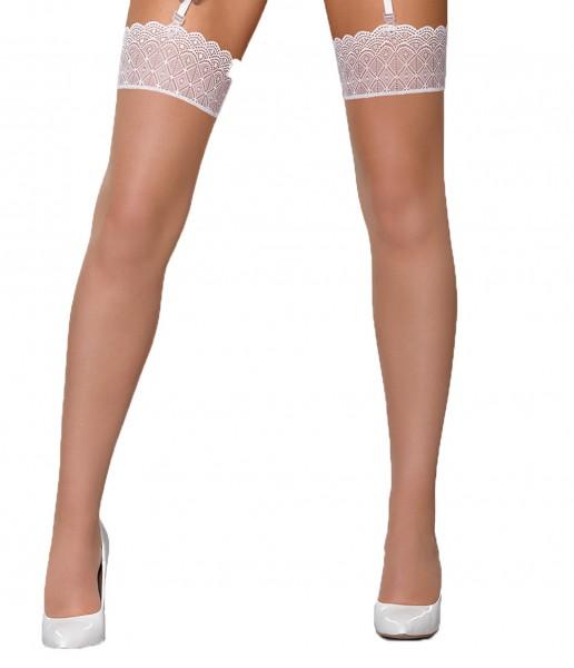 Damen Dessous Stockings Straps-Strümpfe halterlos mit Spitze in weiß elastisch