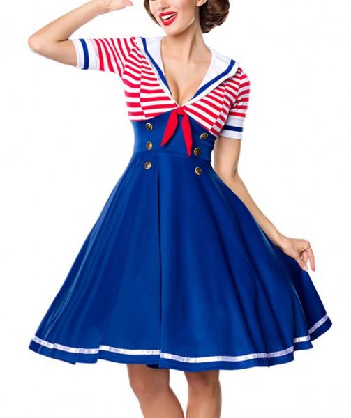 Blaues knielanges Swing Kleid im Marine Schnitt mit Knöpfen und Matrosenkragen gestreift und kurze Ä
