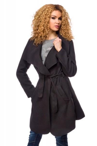 Damen Wickelmantel mit Gürtel und Wasserfallkragen Damen Mantel mit Gürtel warm